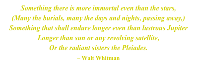 Something there is more immortal even than the stars,
